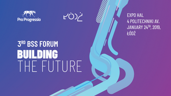 Grafika promująca wydarzenie: The BSS Forum: Building The Future/ Gala Outsourcing Stars 2019 w Hali Expo-Łódź -  fot. mat. pras.
